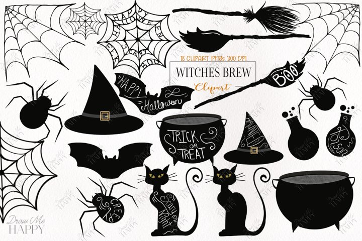 Witch Broom png, Halloween Clipart, Witch Hat Clipart, Bat