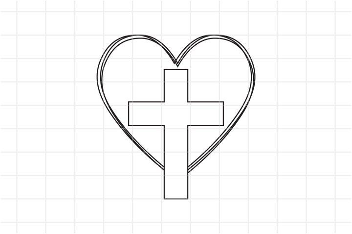 Cross heart SVG cut file. Christian vector design.