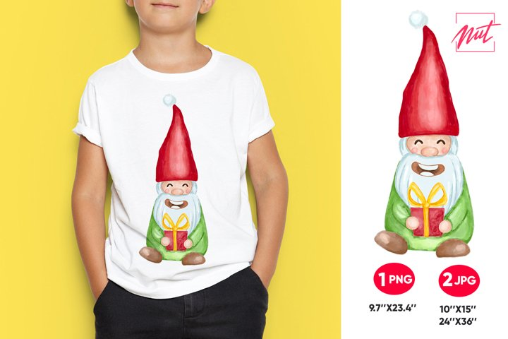 Watercolor gnome sublimation. Christmas gnome. Gnome png