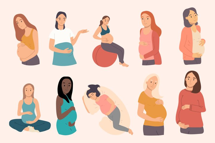 Bundle of 10 pregnant woman. Vector hand drawn illustration.