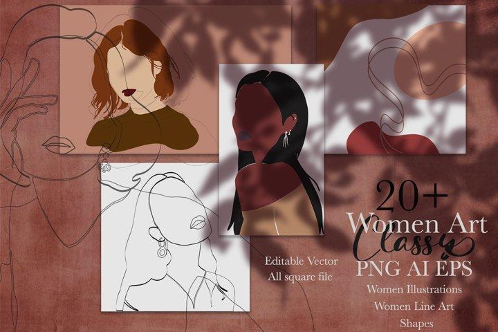 Women Art Classy | Illustrations, Line Art, Shapes