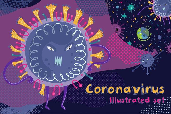 Coronavirus. Illustrated set.