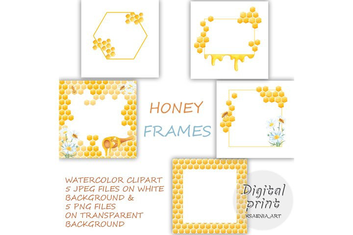 Set of 5 Clipart Digital Download Frames, Honey Elements