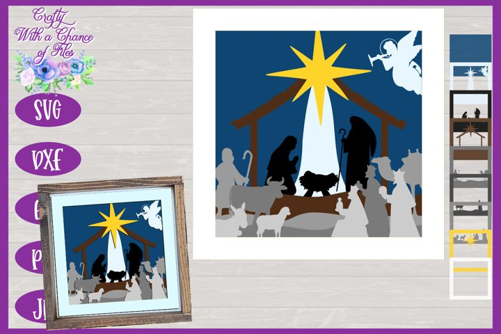 Nativity Scene SVG 3D Christmas Nativity Shadow Box