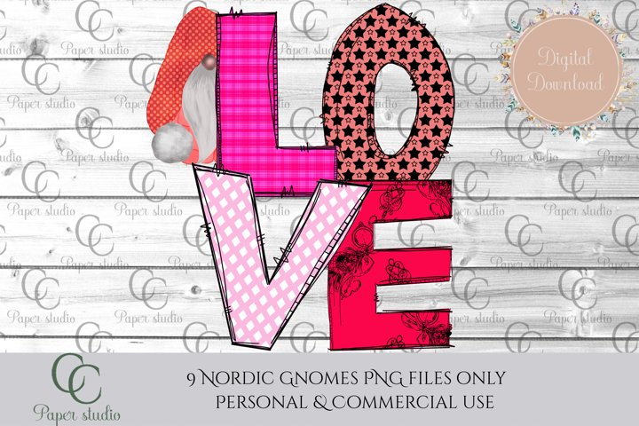 Sublimation design - Pink love design with hiding gnome