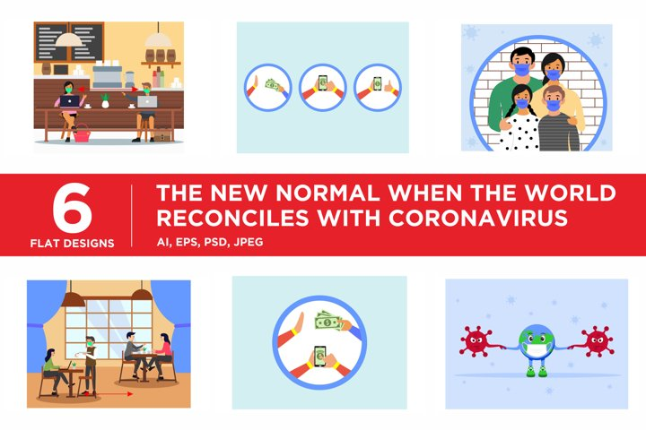 The New Normal Covid19 Flat Illustration