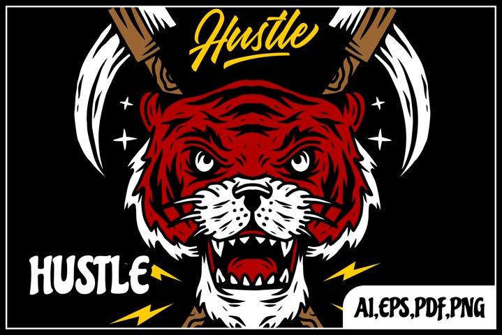 tiger hustle tshirt design