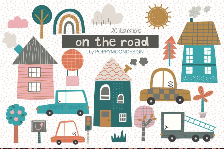 On the Road clipart and paper