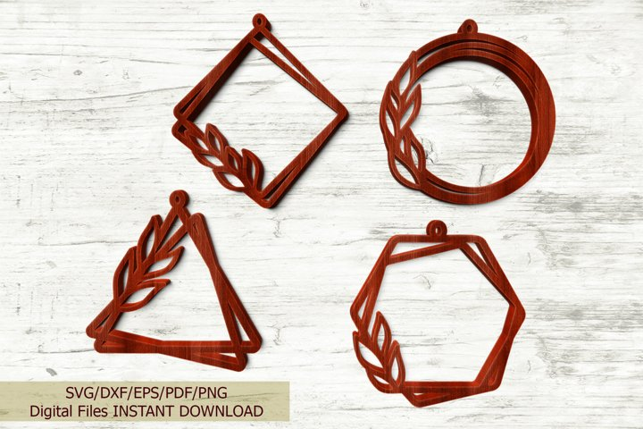 Set of Geometric Leaves Earrings laser cut templates svg dxf