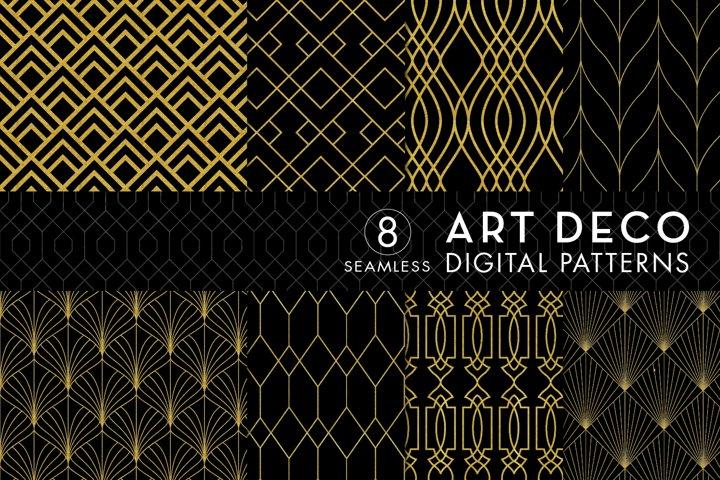8 Seamless Art Deco Patterns - Black & Gold Set 1