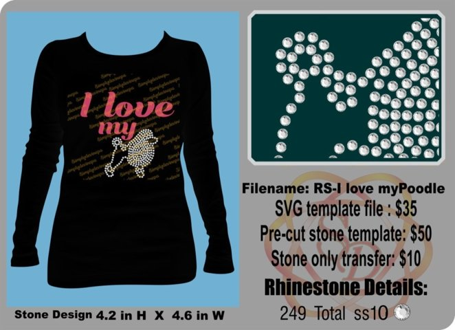 Rhinestone Design- I love my Poodle1