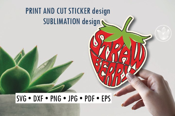 Strawberry Print and cut sticker, Sublimation design