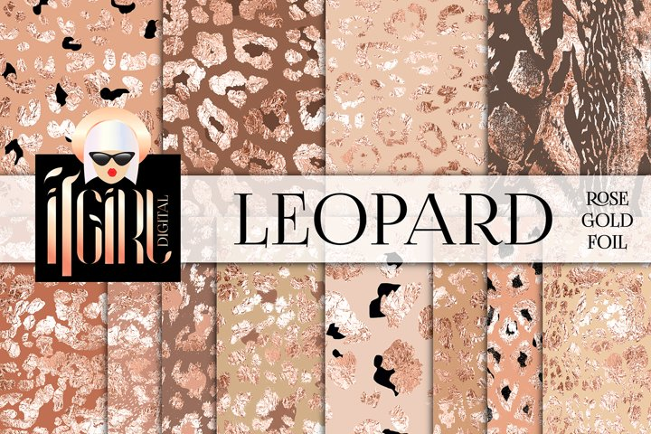 Rose Gold Foil Leopard Pattern