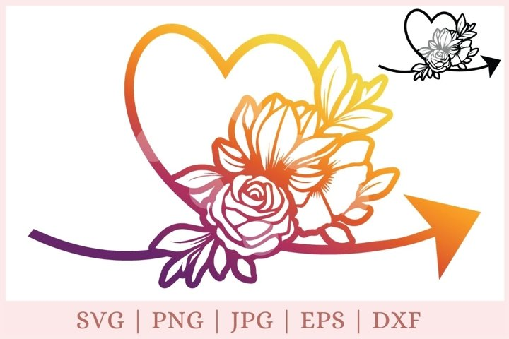 Floral Heart svg, floral arrow svg