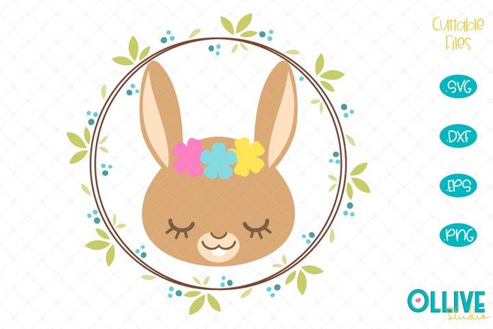 Bunny Wreath SVG, Bunny Cut File