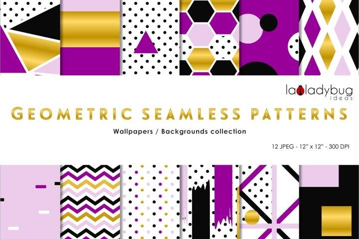 Golden, black, purple and lilac geometric seamless patterns