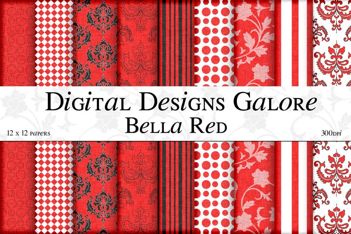 Bella Red Digital Paper Pack