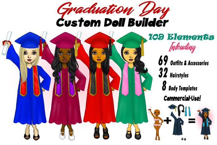 Graduation Girls College Clipart Customizable Paper Doll PNG