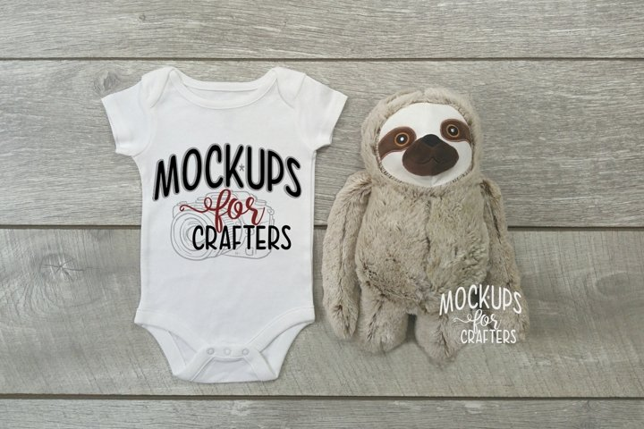 Baby onesie with Sloth stuffie - MOCK-UP