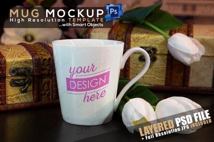 Mug Mockup Template with Smart Objects, Flowers & Chests PSD example