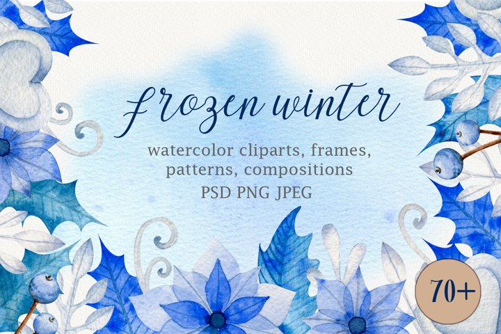 Frozen winter watercolor set