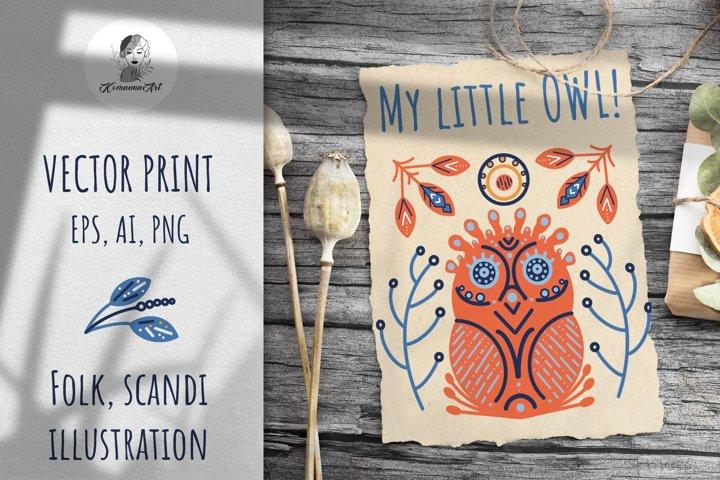 Vector Owl Modern Scandy Folk print, Sublimation Desig