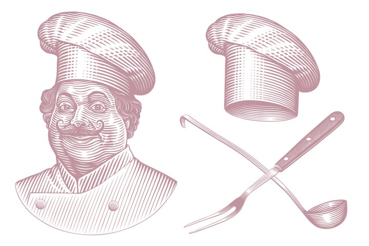 Cheerful Cook. Hand drawn illustration. Vector engraving.