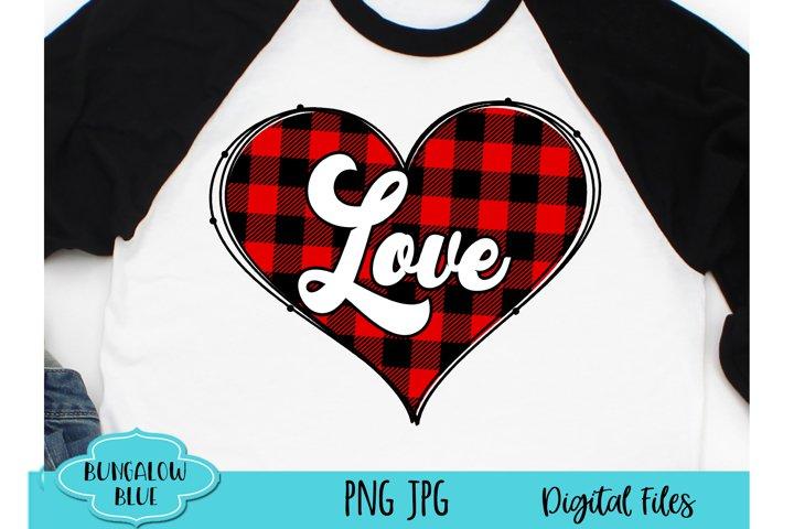 Retro Love Buffalo Plaid Valentine Heart Digital Download