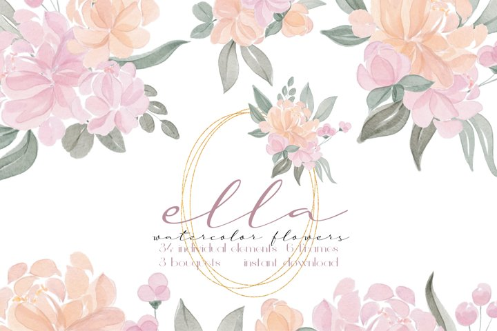 Watercolor Blush Flowers and Frames