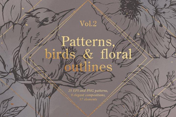 Birds outlines & floral patterns
