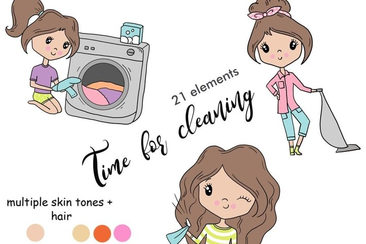 Functional Girls TIME FOR CLEANING Grocery StIckers - PNG