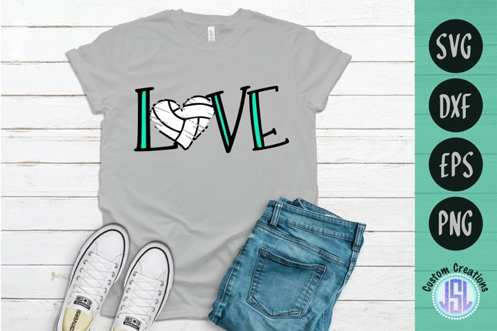 Love Volleyball   Volleyball SVG Cut File   SVG DXF EPS PNG