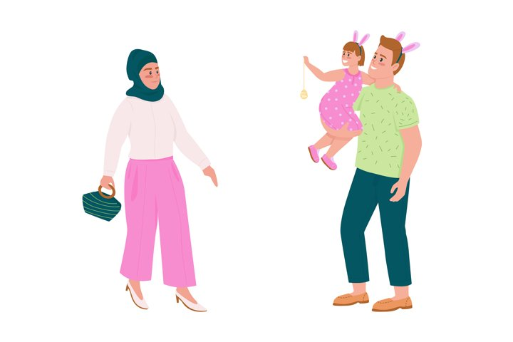 Happy family flat color vector detailed character set