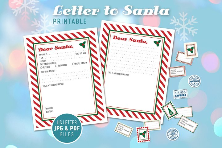 Letter to Santa - Printable - for Handwriting
