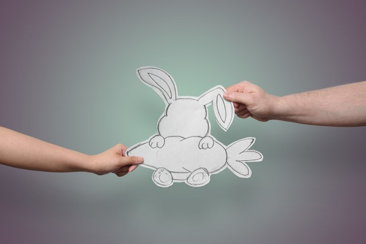 Easter Bunny Rabbit Holding Carrot, Paper CutOut, Hand Drawn