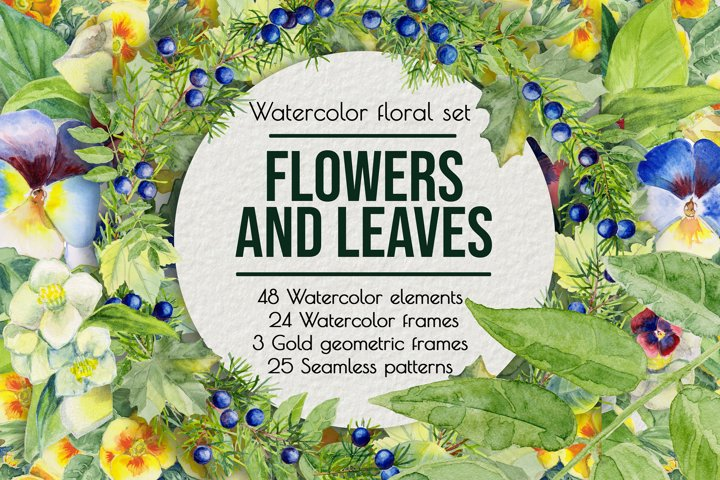 Watercolor clip art. Violet, primrose, juniper, tree leaves