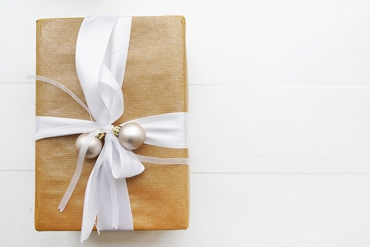 Christmas or New Year present on white background
