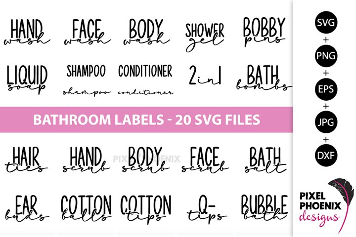 Bathroom Labels SVG, Bottle Labels, Jar Labels