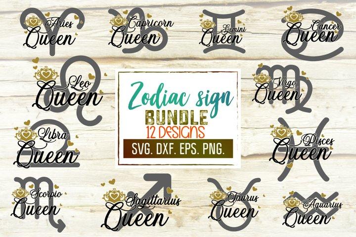 Zodiac Svg Bundle. 12 Horoscopes Svg. Zodiac Queen