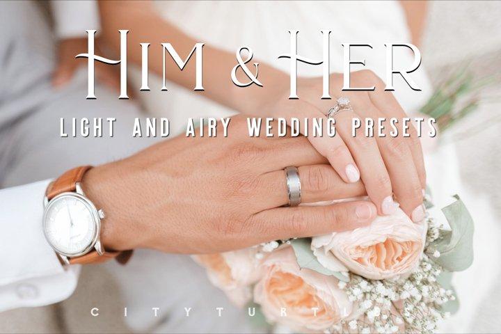 Light Airy Wedding HIM HER Fine Art Couple Lightroom Presets