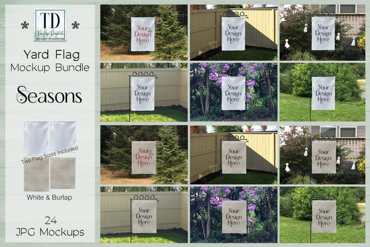 Yard Flag Mockup Bundle for all Seasons, White and Burlap