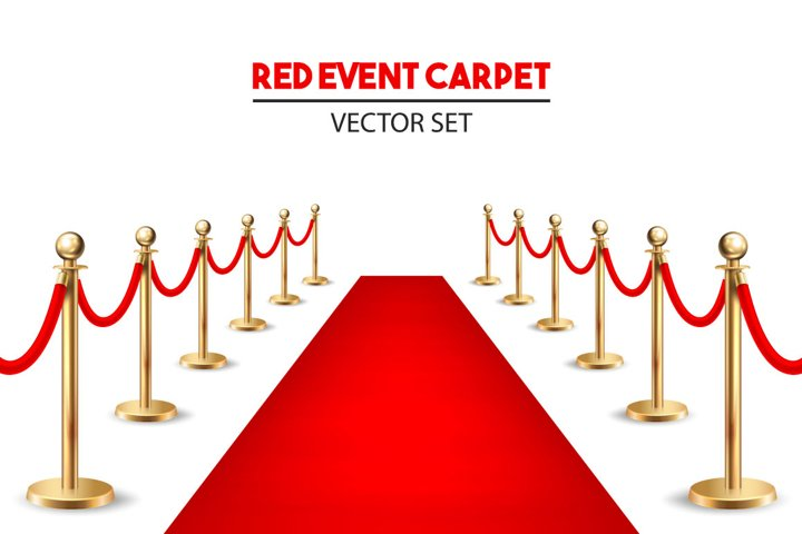 Red event carpet set.