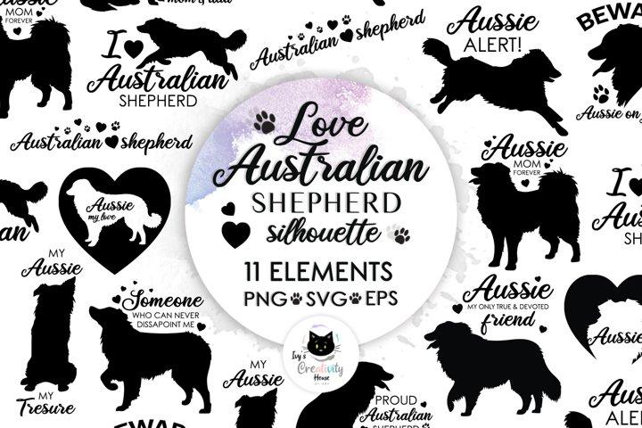 Love Australian Shepherd Dog SVG   Silhouette Dog Clipart