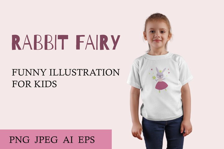 Childrens vector illustration of a fairy rabbit. For print.