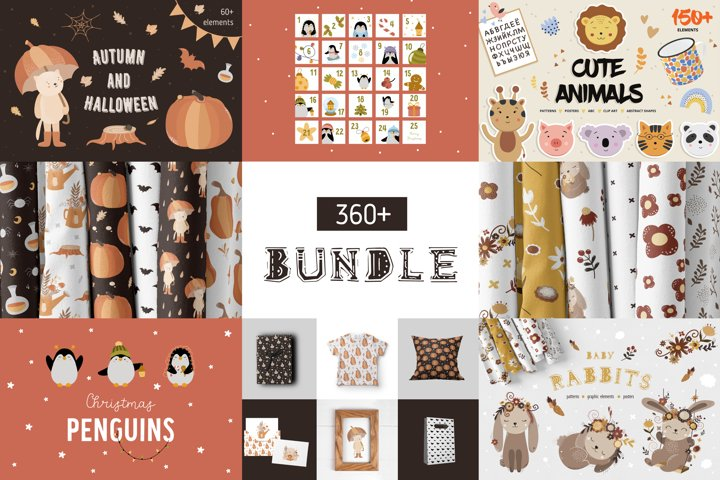 Bundle Kids animal Clipart & Pattern