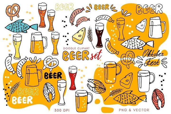 Drinks clipart beer. Set of glasses, mugs, snacks, lettering