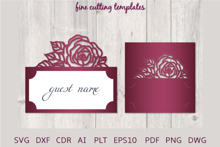 Wedding Place Card SVG template with roses, laser cut