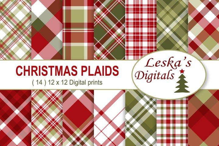 Christmas Digital Paper  - Plaid Digital Paper