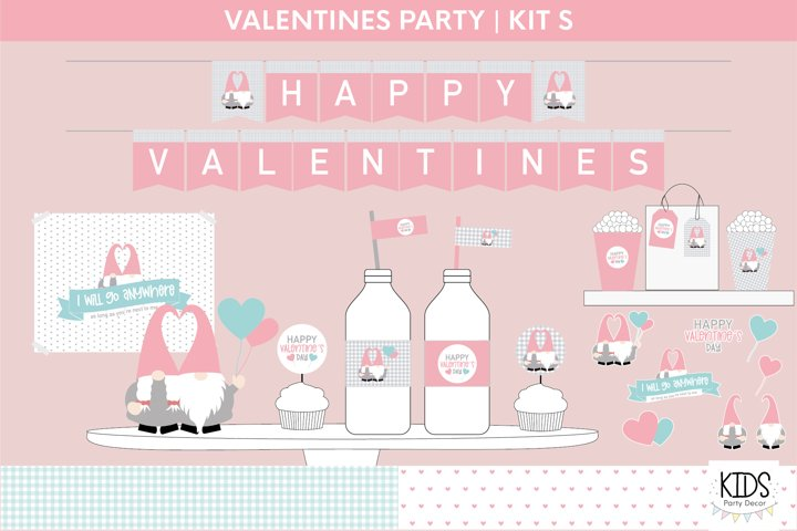 Valentines Day party decorations.   Gnomes printable party