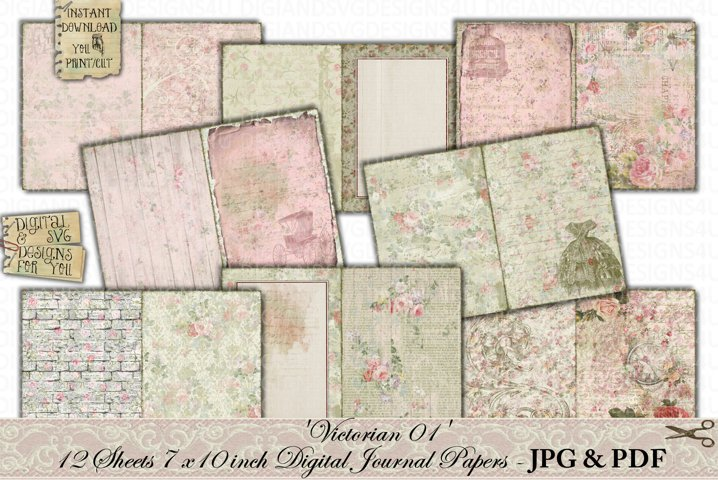 Shabby Chic | Victorian | Junk Journal Pages | Printable